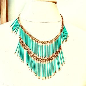 Beautiful Turquoise and Gold Boho Necklace